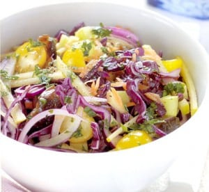 Red Cabbage Tomato Slaw